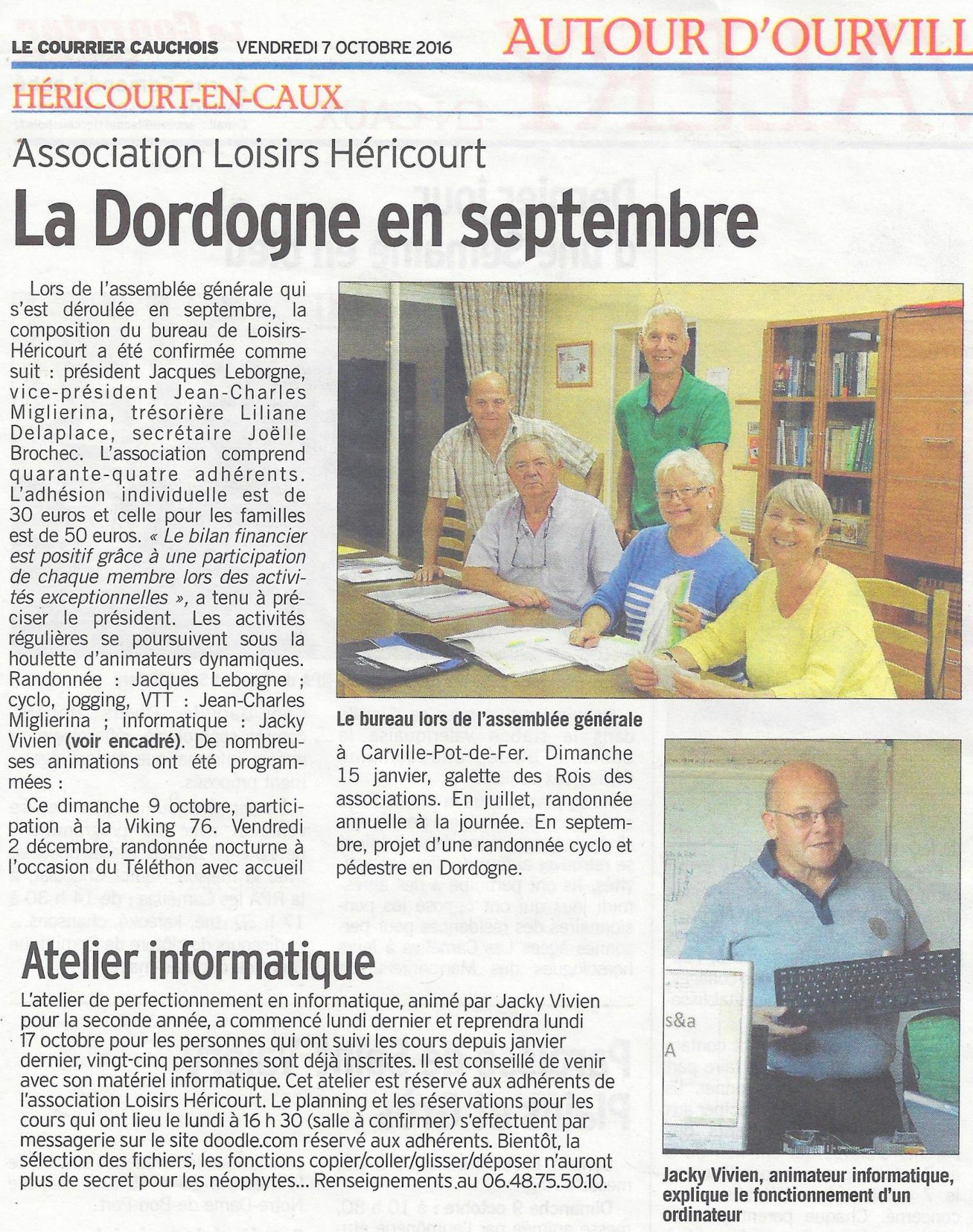 Article courrier cauchois du 09 10 2016