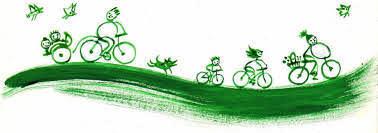 Cycliste en ballade vert